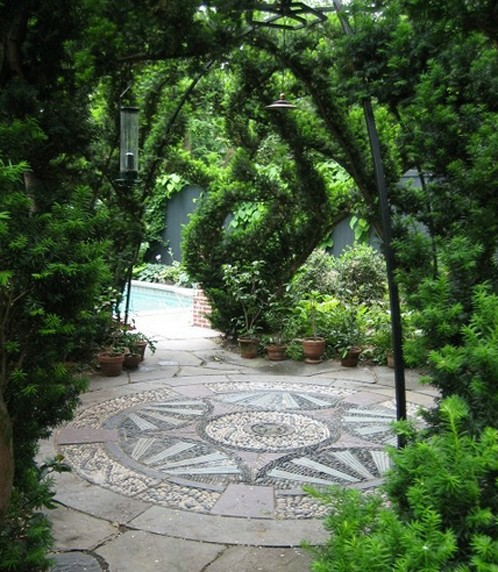 монохромный дизайн сада