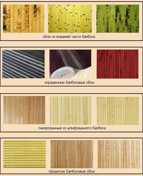 виды бамбуковых обоев