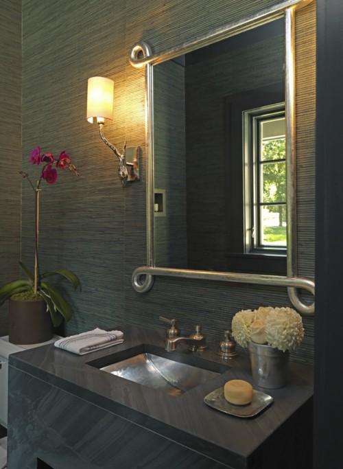 дизайн ванной с бамбуковыми обоями
