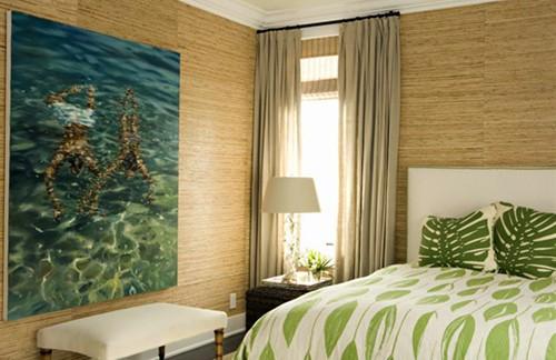 дизайн комнаты с бамбуковыми обоями