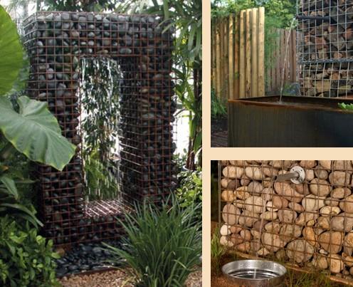 использование габионов для сооружения фонтанов