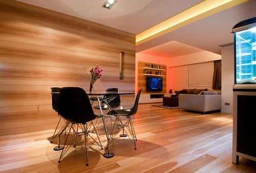 отделка деревянными панелями в интерьере квартиры