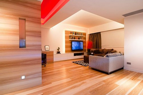Wood paneling walls for spacious room