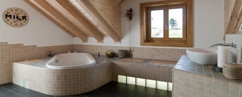современная ванная комната в традиционном деревянном доме