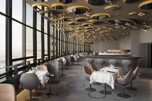 интерьер ресторана с панорамным видом на Париж