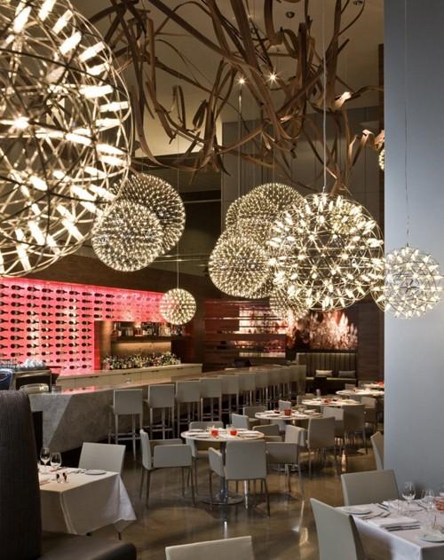 световой дизайн в интерьере ресторана