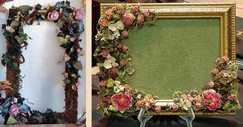 декорирование рамок объемными цветами