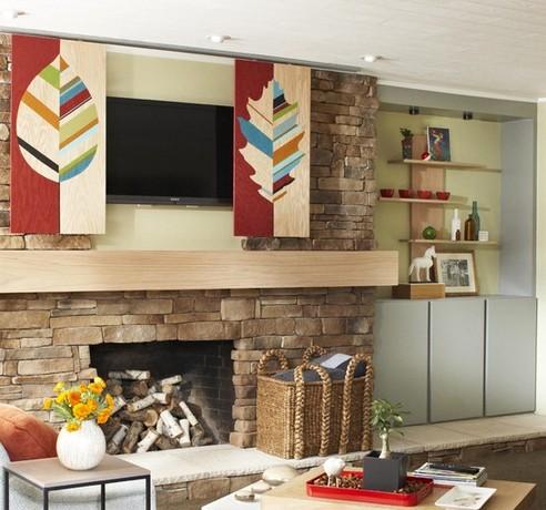оригинальные панели для декорирования встроенного телевизора