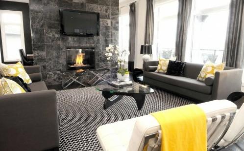 современная гостиная с серым фоном и желтыми акцентами