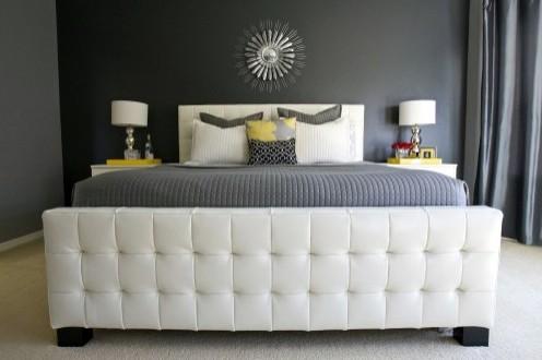 современная серо-желтая спальня