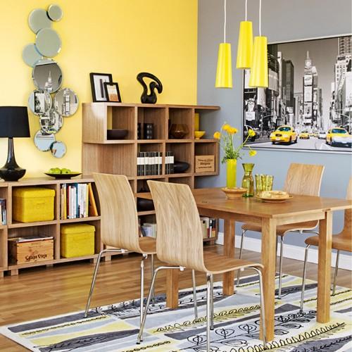 серо-желтая гамма интерьера столовой зоны