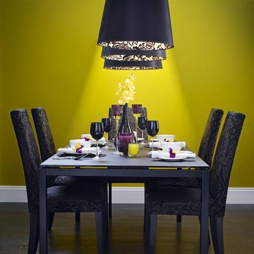 роскошная серо-желтая столовая