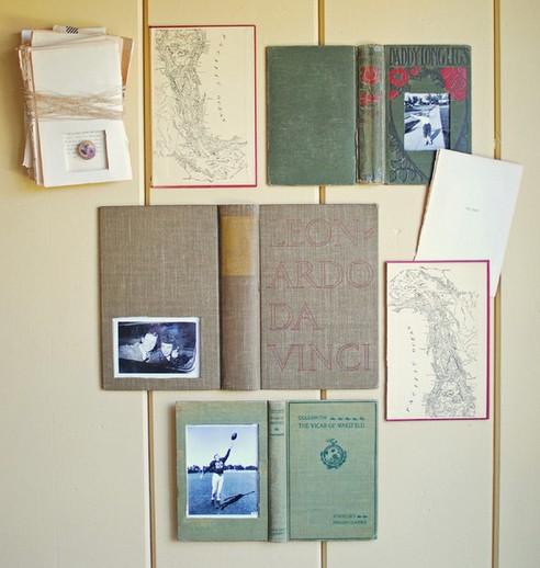 старые книги вместо фоторамок