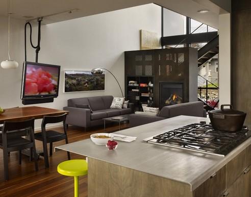 передвижной телевизор на кухне