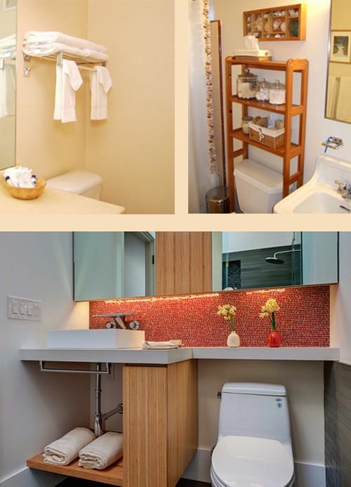 использование пространства над унитазом в маленькой ванной