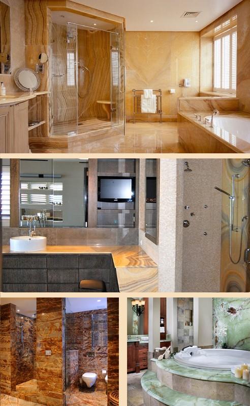 оникс в интерьере ванных комнат