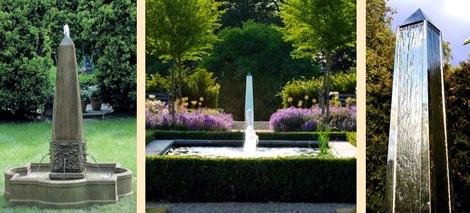садовые обелиски-фонтаны и обелиски-водопады