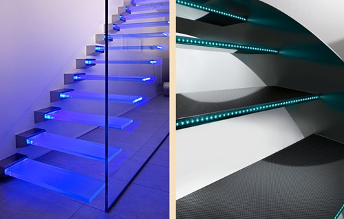 встроенная подсветка стеклянных ступеней лестниц