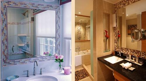 отделка зеркала в ванной комнате мозаикой