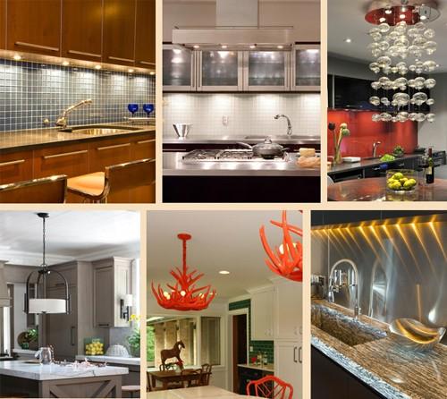 обновление освещения и светильников на кухне