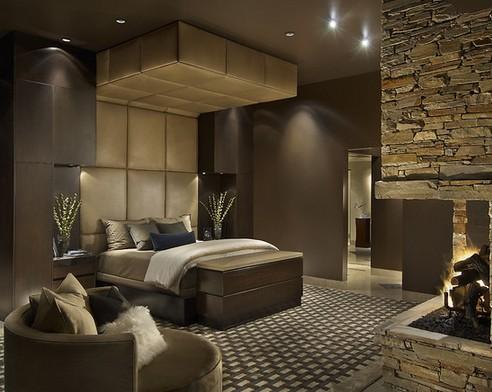 кожаный потолок в интерьере спальни