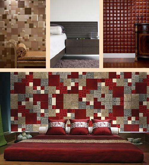 интерьеры спален с декором из кожаной плитки
