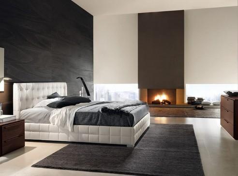 современная спальня с кожаной мебелью