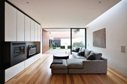 планировка интерьера узкого дома