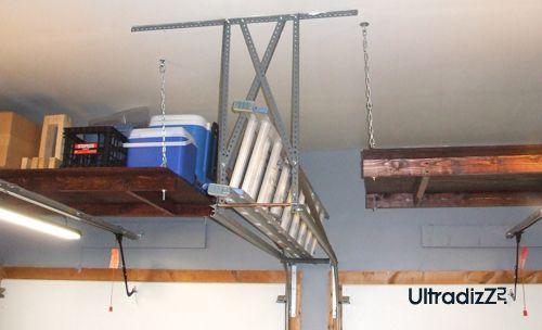 подвесные полки под потолком гаража