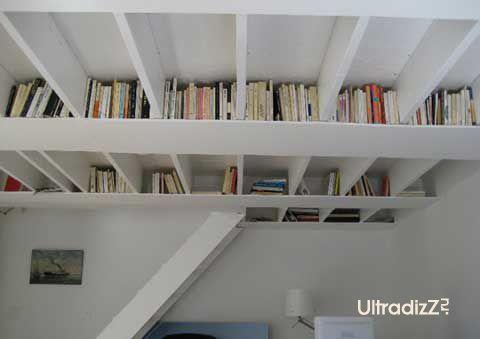 идея хранения книг под потолком комнаты