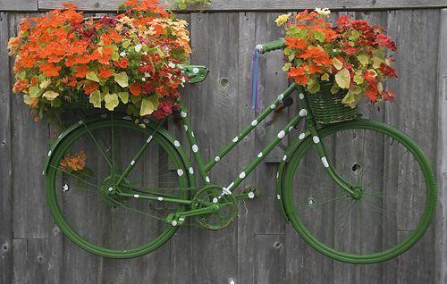 окрашенная рама старого велосипеда на заборе