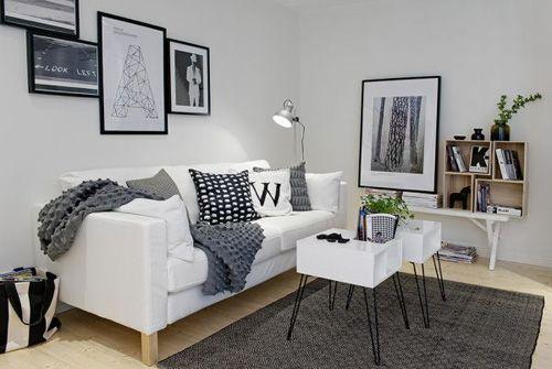 отделка и декор зоны гостиной в однокомнатной квартире