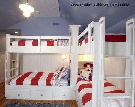 спальня для 4 детей с угловым расположением спальных мест