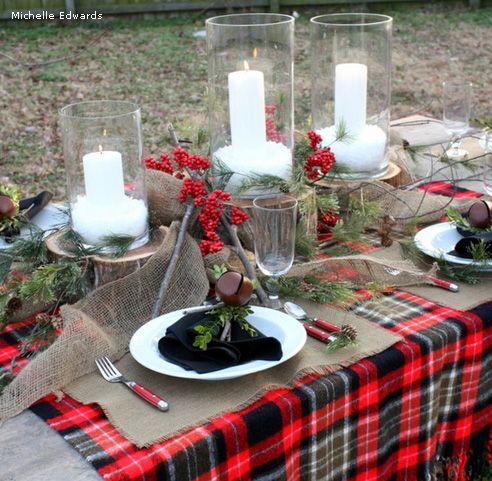 использование веток в декоре новогоднего стола