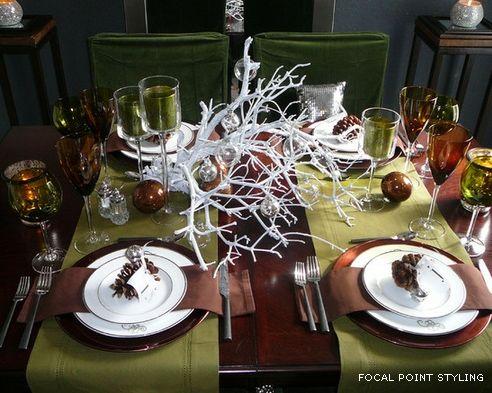 красивая ветка для украшения новогоднего стола