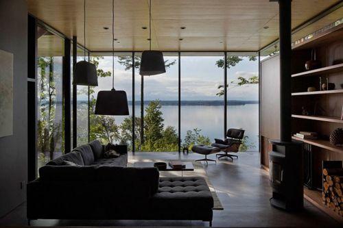 современный интерьер дачного домика