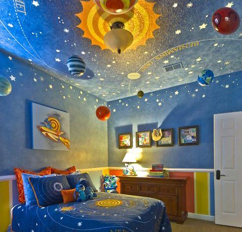 интерьер детской спальни в космическом стиле