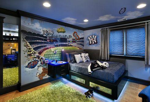 роспись в виде стадиона в интерьере спальни подростка