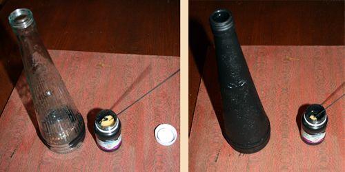 грунтовка стеклянной бутылки под вазу