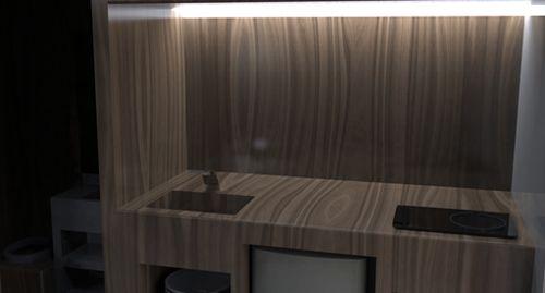 встроенная кухонная мебель в маленькой студии