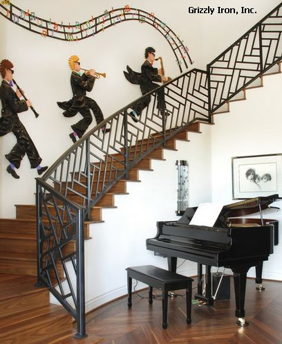 современное ограждение лестницы из металла