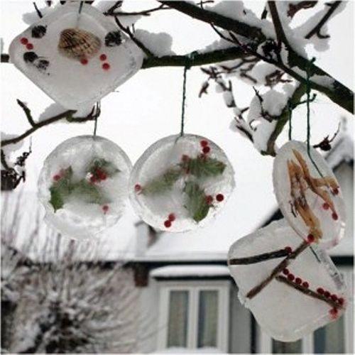 ледяные новогодние украшения для частного двора