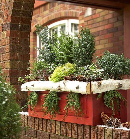 праздничное украшение цветочных ящиков в дизайне двора