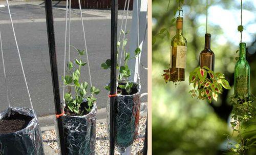 подвесные цветочные горшки из бутылок