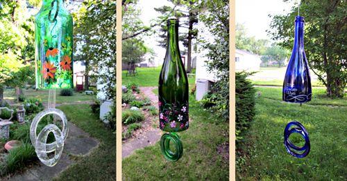 воздушные колокольчики из стеклянных бутылок