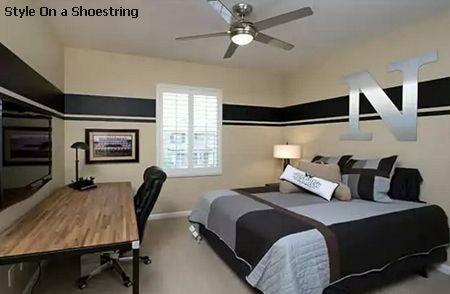 высоко расположенные горизонтальные полосы зрительно снижают потолок комнаты