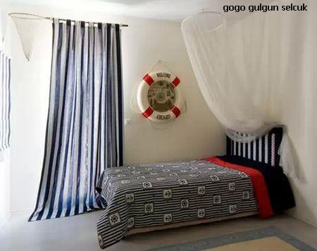 полосатый декор детской с помощью текстиля