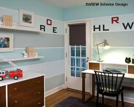 нейтральный интерьер детской с полосатым декором стен