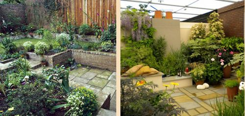 террасирование в дизайне маленького сада