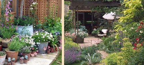 каскадное озеленения маленького сада